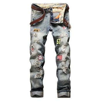 2017 sunlight youth jeans hip hop brand ripped jeans for Men biker Jeans male famous brand men's denim pants jeans men