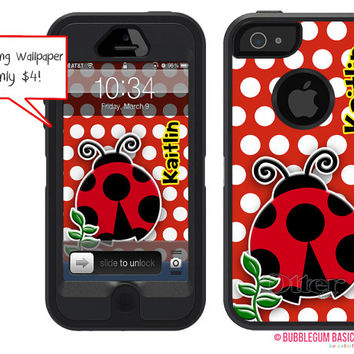 OTTERBOX DEFENDER iPhone 5 5S 5C 4/4S iPod Touch 5G Case Custom Ladybug Red Black Polka The Lexi Collection Monogram Personalized