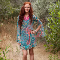 Blue Paisley Belle Sleeved Dress