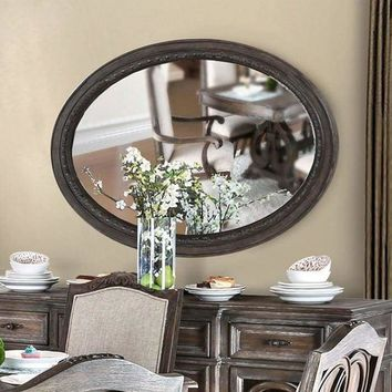 Oval Wall Mountable 5mm Beveled Mirror, Rustic Natural Brown