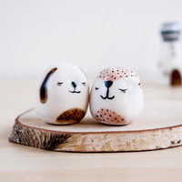 Dog and fox miniature ceramic totem animal, Ceramics & Pottery, Animals totem figurine, Tiny animals, Dolls and miniatures, Cute animals