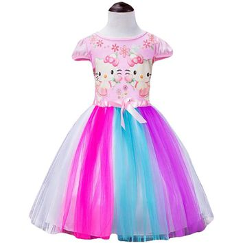Summer Baby Girl Kitty Moana Dress Girls Rainbow Princess Party Dress Kids Girls Colorful Bow Costume Children Clothes Vestidos