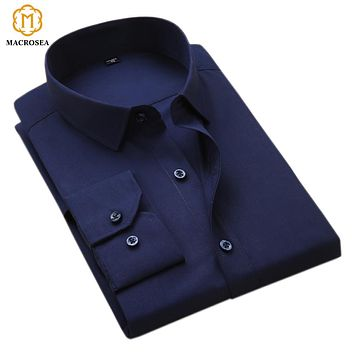 New Arrival Men's Turn-Down Collar Business Formal Shirts Men Work Shirts Plain Long Sleeve Solid Color Shirt