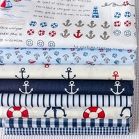 iOffer: 8 pcs 100% Cotton Fabric Navy 40cm x 50cm for sale