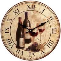Glasses of Wine Antique Wall Clock