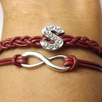 Personalized Leather Infinity Bracelet with Rhinestone Letter - genuine  leather - bridal gift - birthday gift - personalized gift
