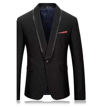 Men Blazer Slim Fit Men Blazers And Jackets Shawl Collar Vintage Suit Black Prom Party Stage Wear