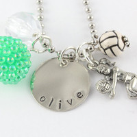 Volleyball Charm Necklace Custom Personalized Silver Hand Stamped