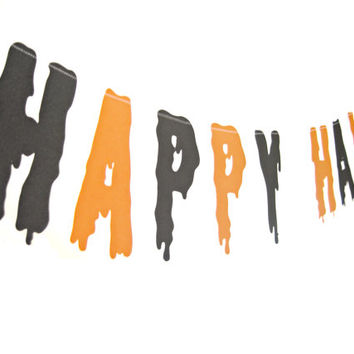 Spooky Happy Halloween Banner - shimmer orange & black, Halloween Banner, Halloween decor, Halloween party