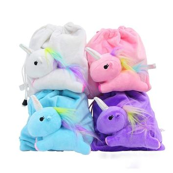 3D Unicorns Cozy Drawstring Bags Cinch String Backpack Funny Funky Cute Novelty