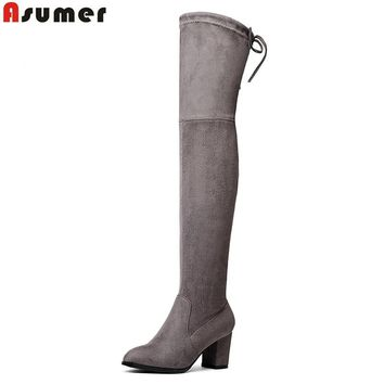 Asumer Faux Suede Slim Boots women Sexy over the knee high heels snow boots women's fashion winter thigh high boots shoes woman