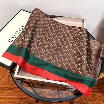GUCCI Popular Women Men Stripe Silk Kerchief Cape Scarf Scarves Coffee