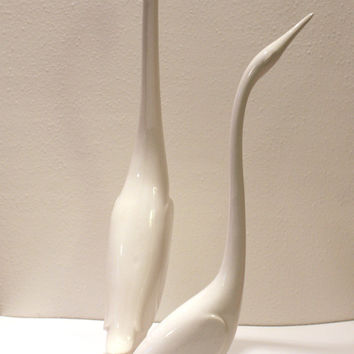 Handmade Modern Bird Sculptures in White Glaze. Poured from vintage mid century mold and hand painted in modern glazes.