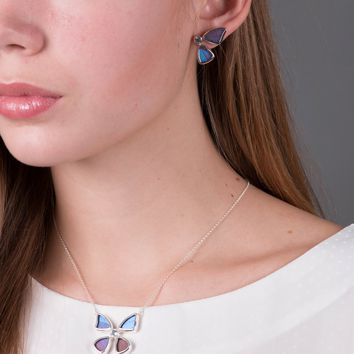 Silver butterfly necklace with blue topaz birthstone - Iridescent Blue  Morpho Didius