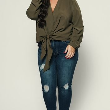 Curvy Boundless Tie Front Blouse (Olive)