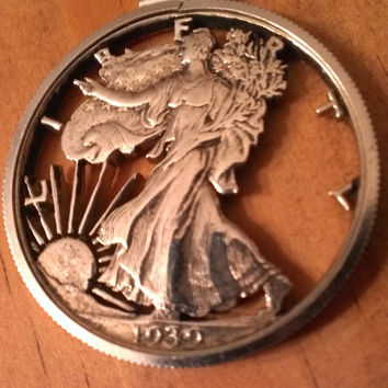 Price Reduced- Silhouette, Cut Out Liberty,Silver Dollar, Coin 1939, Pendant With ChainBlack Friday Cyber Monday Prices Marked 15 % OFF