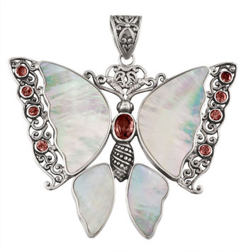 Garnet Butterfly With Shell Wings Sterling Silver Pendant