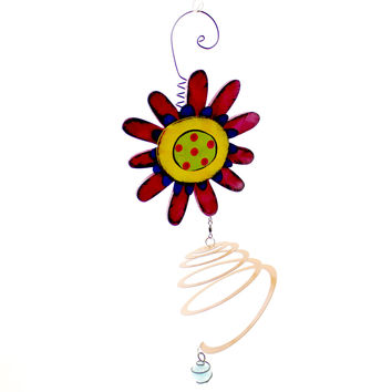 FLOWER WINDSPINNER Wood Whimsical Art Tracy Pesche 2020150888