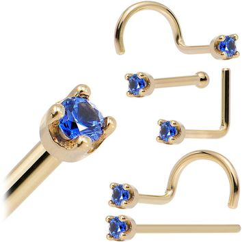 Solid 14KT Yellow Gold (September) 1.5mm Genuine Blue Sapphire Nose Stud Ring