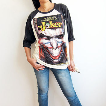 The Joker Classic Movie Comics Art Screen Printed Baseball Raglan T Shirt Long Sleeve Shirts Size M