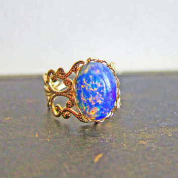 Fire Opal Ring Opal Ring Gift harlequin Opal Ring Vintage Filigree Gold Ring Friendship Ombre Ring Whimsical Fantasy Fairy Tale Elf Ring