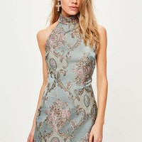 Missguided - Blue Brocade High Neck Bodycon Dress
