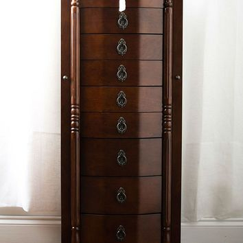 Bedroom 8-Drawer Jewelry Armoire in Antique Walnut Finish