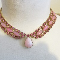 vintage rhinestone choker pastel necklace 1950's jewelry set necklace & earring set clip on earrings pink pastel necklace