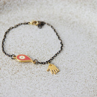 Gold eye bracelet, eye and hand charm bracelet, oxidised and gold chain with coral red eye and gold hand charm, unique, boho bracelet