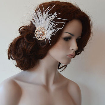 Wedding Hair Accessory, Rose Gold  Bridal  Hair Accessory, Rose Gold  Vintage Style Brooch,  Wedding  Feather Fascınator