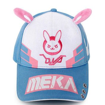 Trendy Winter Jacket Game OW D.va DVA Heroine Cosplay Hat Snapback Adjustable Canvas Embroidered Baseball Cap Bunny Rabbit Ears Christmas Gift AT_92_12