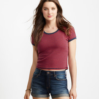 Striped Ringer Cropped Baby Tee
