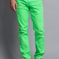 Men's Skinny Fit Colored Jeans DL937 (Neon Green)