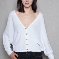 Open Back Button-Down Cardigan With Dolman Long Sleeves - White