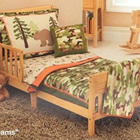 4pc Camo Dreams Toddler Bedding Set Camouflage Bears Bedspread and Sheet Set