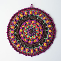 Crocheted mandala potholder - round double layered pot holder, brown and purple kitchen accessory
