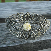 antique brass diamond filigree cuff bracelet