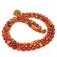 Amber Beaded Necklace, Double Strand Fashion Necklace, Gold Repousse Rondelles, Decorative Clasp, 1950s Vintage Florenza Jewelry