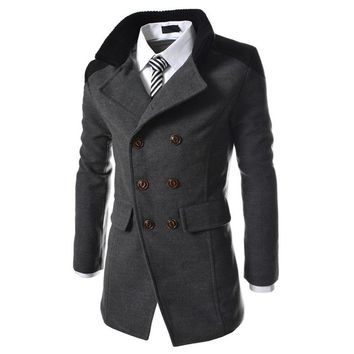 winter fashion long trench coat men good quality double breasted wool blend overcoat for men Pure color casual jacket size 3XL