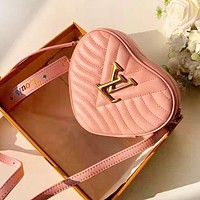 LV Louis Vuitton New fashion love heart shoulder bag women Pink
