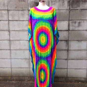 Mumu Caftan Dress Vintage 1970s Accordion Pleat Tie Dye Psychedelic Maxi Bright