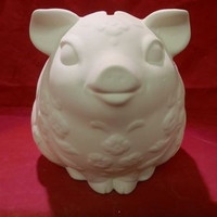 Piggy Pig Bank  with Flowers Includes Stopper