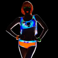 Rave Black Light Reactive Two Piece Short Set