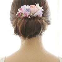 Bridal Hair Accessory, pink ranunculus & purple Hydrangea , Silk Flower Hair comb, Bridesmaid, Rustic Chic Romantic outdoor wedding woodland