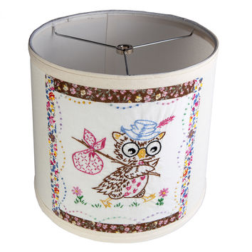 Adorable Vintage Embroidered Owl Fabric on New Lamp Shade