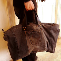 Upcycled Black Jean Bag, Unisex Black Jean Bag, Weekend/Travel Bag, Male Bag
