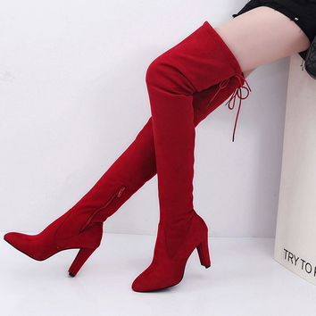 Faux Thigh High Heeled Boots