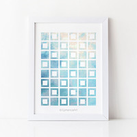 Sky blue wall print, Blue print art, Geometric art print 8x10, Blue wall art, Digital printable wall decor, Office decor, Blue abstract art