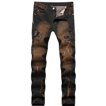 New Brand Men's Casual Zipper Packets Ripped Biker Jeans Men Straight Stretch Denim Oil Print Vintage Jeans Trousers Size 28-42