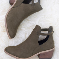 Side Kicks Suede Cutout Ankle Boot- Olive